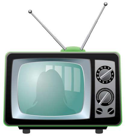 set de television: televisor retro
