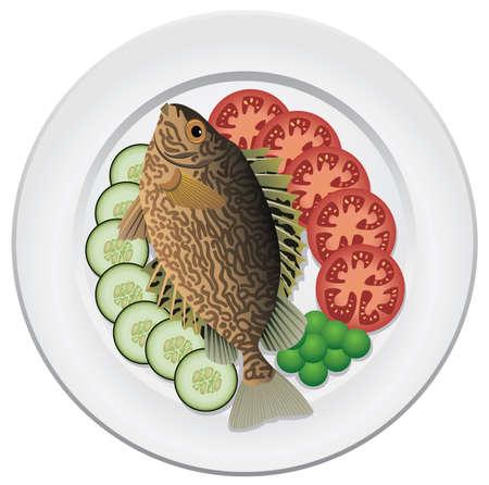 pesce cotto: pesci cotti e verdure crude su una piastra Vettoriali