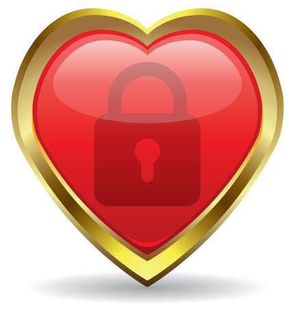 lock in the heart icon Stock Vector - 8694828