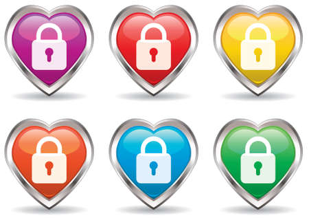 lock in the heart icon set Vector