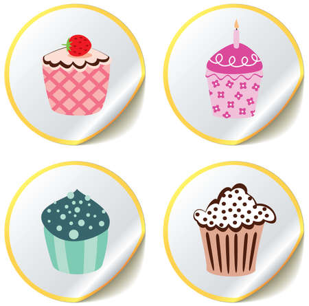 various  cupcakes on paper stickers Vector