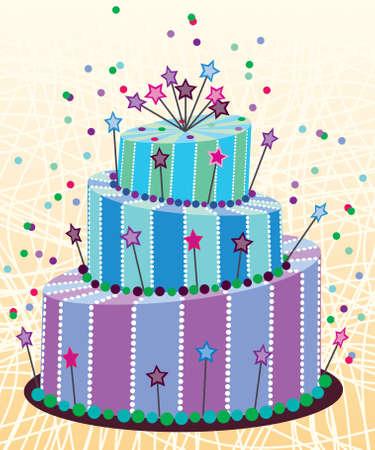 chocolate cakes: big birthday cake Illustration
