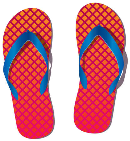 slippers: pair of flip flops Illustration