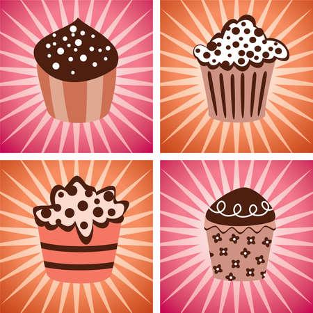 various   cupcakes set Vector