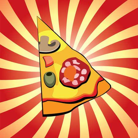 italian pizza slice on retro background Vector