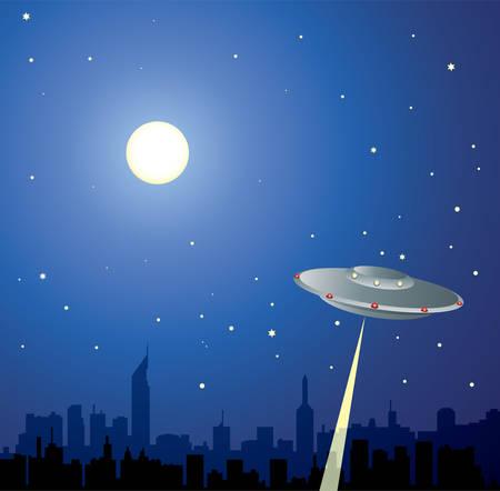 ufology:  illustrazione di ufo su una citt� alla ricerca di persone Vettoriali