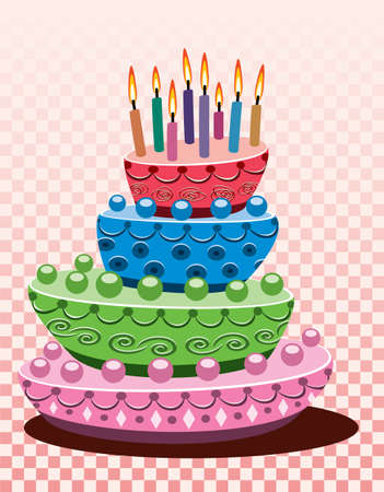birthday and cake with burning candles Vector