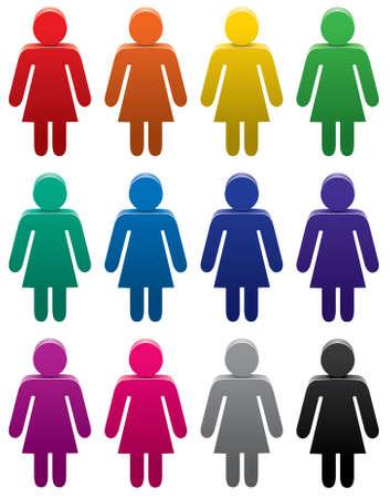 fila di persone: set di simboli femminile colorati