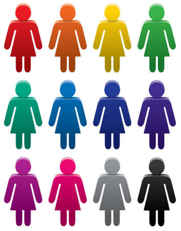 many people: set of colorful female symbols