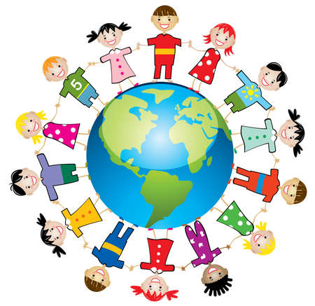 world group: illustration of children around the world Illustration