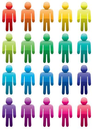 conjunto de coloridos símbolos masculinos Ilustración de vector