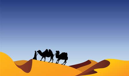 camels and bedouin in desert
