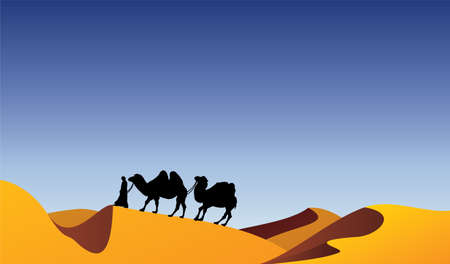 camellos y beduinos en el desierto