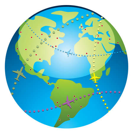 passenger: airplane flight paths over earth globe