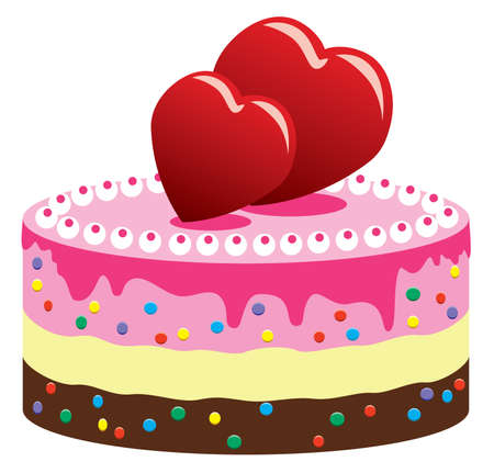 ice cream stand: valentine cake with hearts Illustration
