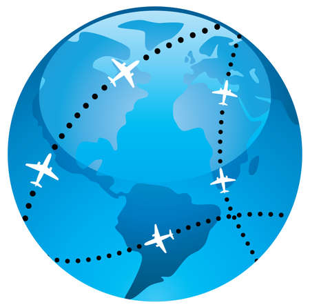 airplane flight paths over earth globe Vector