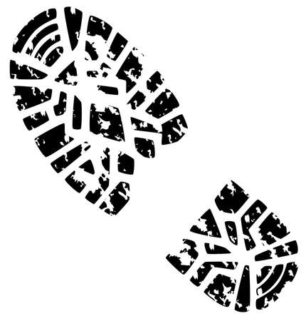 foot prints: vector illustration of mans grunge foot print
