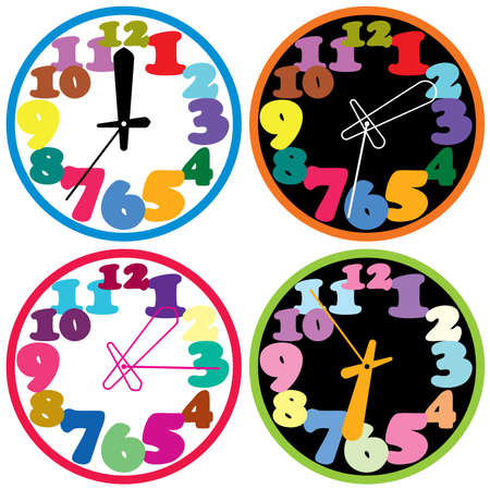 hour hand: vector set of a colorful clocks Illustration