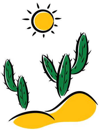vector cactus in desert clip-art  Stock Vector - 8926580