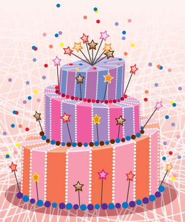 dessert stand: vector big birthday cake with stars