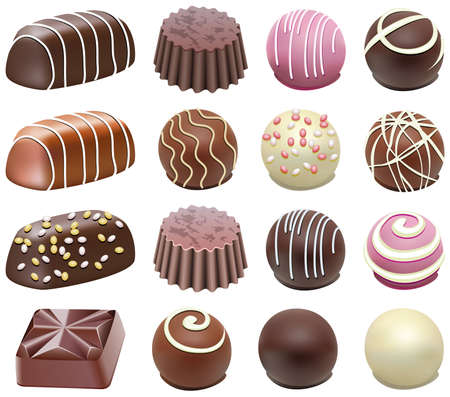 eating chocolate: vector set of chocolate candies