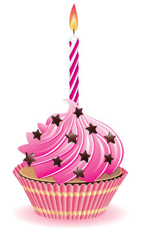 cake birthday: vector pink cupcake with chocolate sprinkles and burning candle