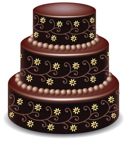 Wektor duży pyszne ciasto czekoladowe