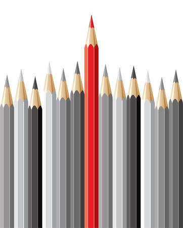 stand out: vector pencils, leadership concept