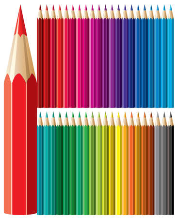 vector set of forty two colorful pencils