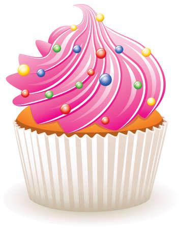 Rosa cupcake con coloridos rociado de vectores