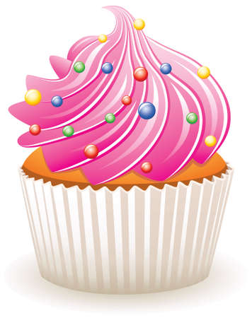 cupcake background: vector pink cupcake with colorful sprinkles