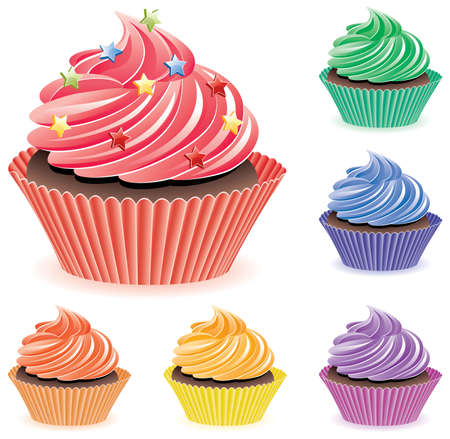 home baked: vector set of colorful cupcakes
