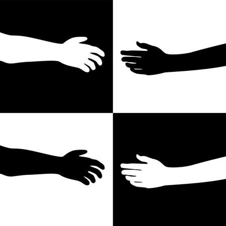 human arms: vector illustration of black and white hands