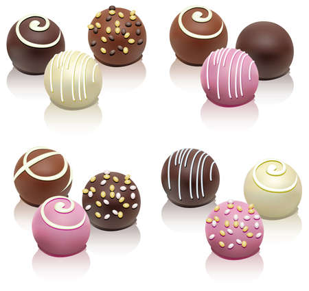 eating chocolate: set of chocolate candies Illustration