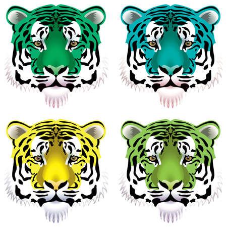 set of colorful tiger heads Vector