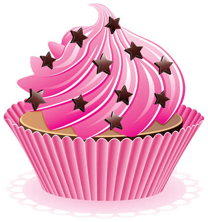 vector pink cupcake with chocolate sprinkles Stock Vector - 8977690