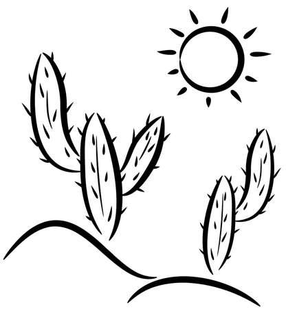 desert landscape: vector cactus in desert clip-art  Illustration