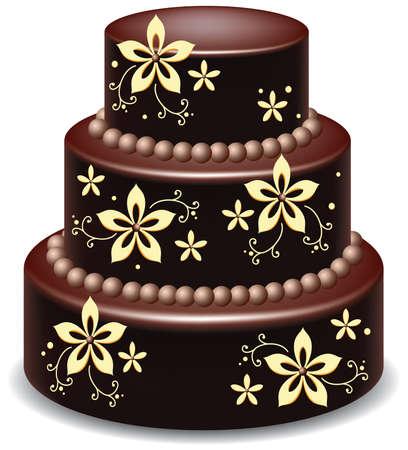 big delicious chocolate cake Vector