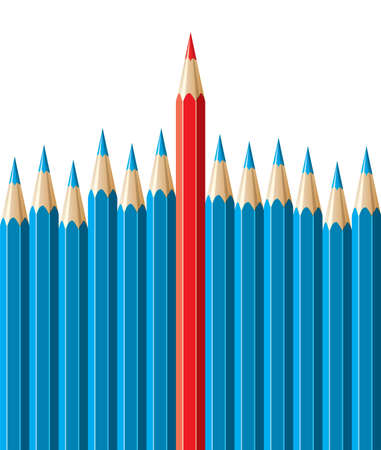 crowd of people: vector pencils, leadership concept