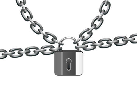 illustration of metal chain and lock Stock Vector - 8977828