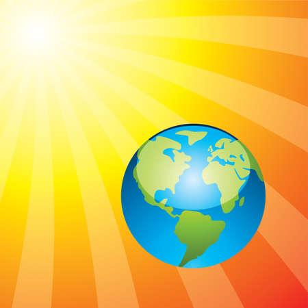 rising sun: Ilustraci�n de la tierra y el sol naciente Vectores