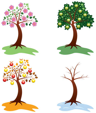 vector set of apple trees Vector