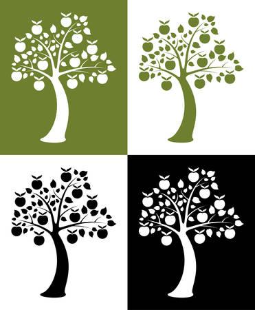 pommier arbre: ensemble de vecteur de pommiers
