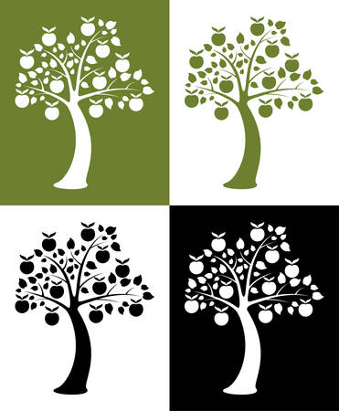 vector set of apple trees Vector