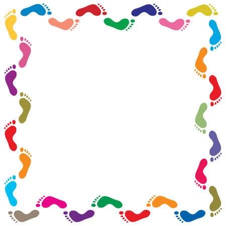 footprint: ilustraci�n vectorial de frontera colorido huellas