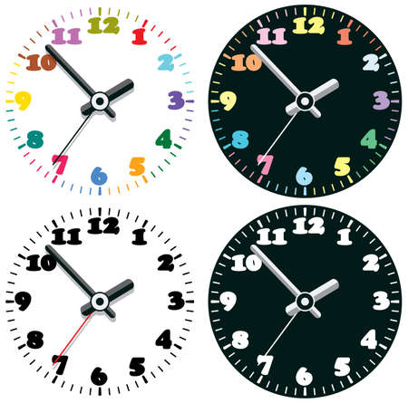 vector set of colorful clocks Vector