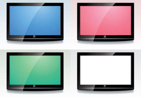 displays: vector set of LCD screens with colorful displays