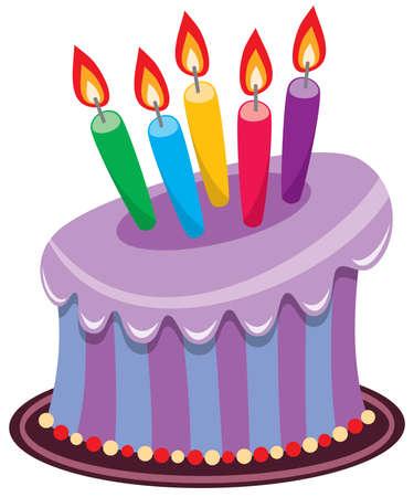 tortas de cumpleaños: Tarta de cumpleaños de vector con quema de velas