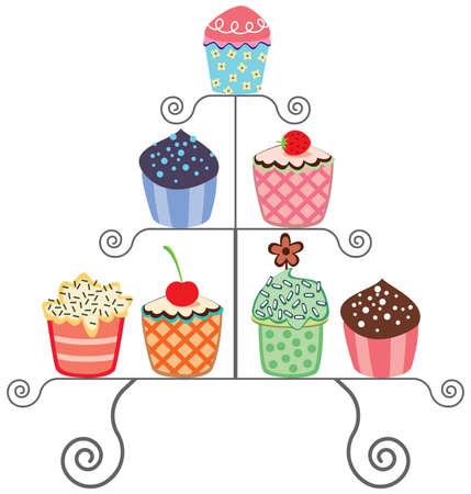 vector set of various cupcakes on a stand Векторная Иллюстрация