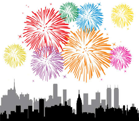 red white blue: vector fireworks over a city